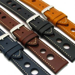 Grand Prix Leather Watch Strap 24mm 22mm 20mm Contrast Stitching C029